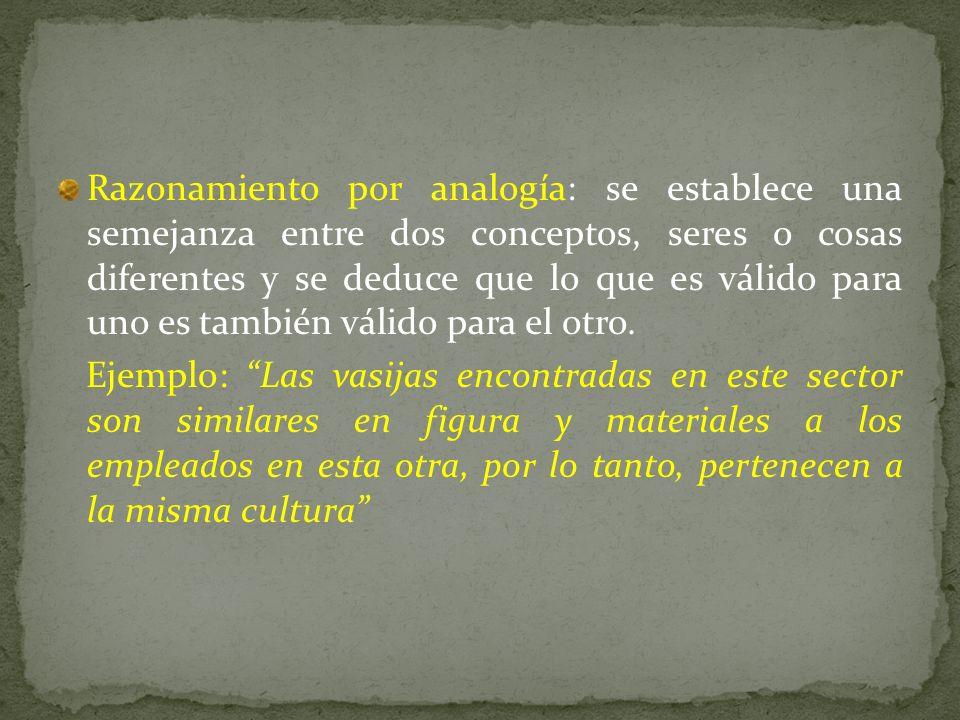 Razonamiento por analogía: se establece una semejanza entre dos conceptos, seres o cosas diferentes y se deduce que lo que es válido para uno es tambi