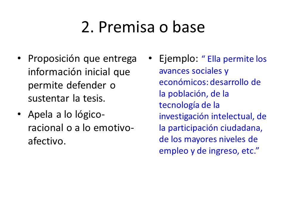 2. Premisa o base Proposición que entrega información inicial que permite defender o sustentar la tesis. Apela a lo lógico- racional o a lo emotivo- a