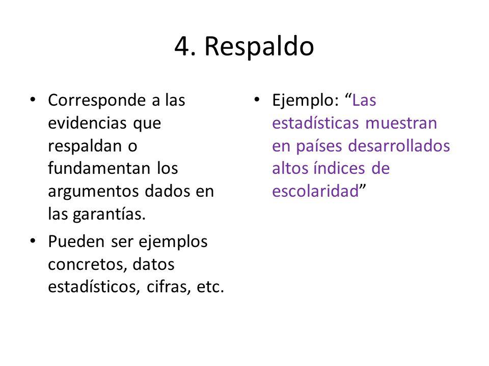 4. Respaldo Corresponde a las evidencias que respaldan o fundamentan los argumentos dados en las garantías. Pueden ser ejemplos concretos, datos estad