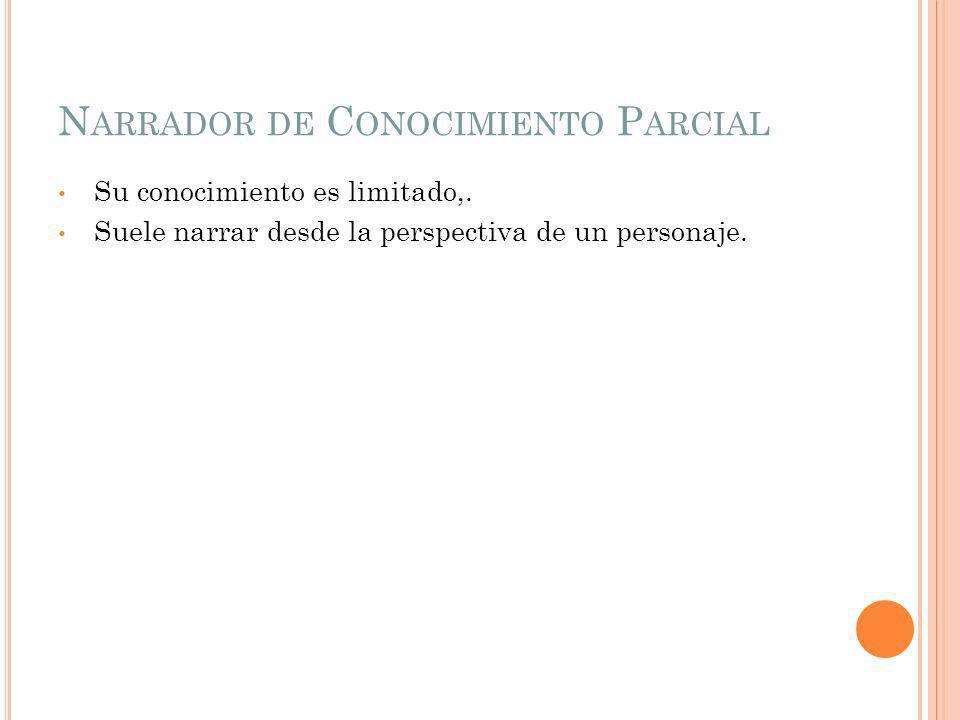N ARRADOR DE C ONOCIMIENTO P ARCIAL Su conocimiento es limitado,.