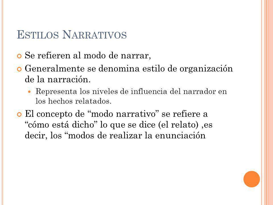 E STILOS N ARRATIVOS Se refieren al modo de narrar, Generalmente se denomina estilo de organización de la narración.