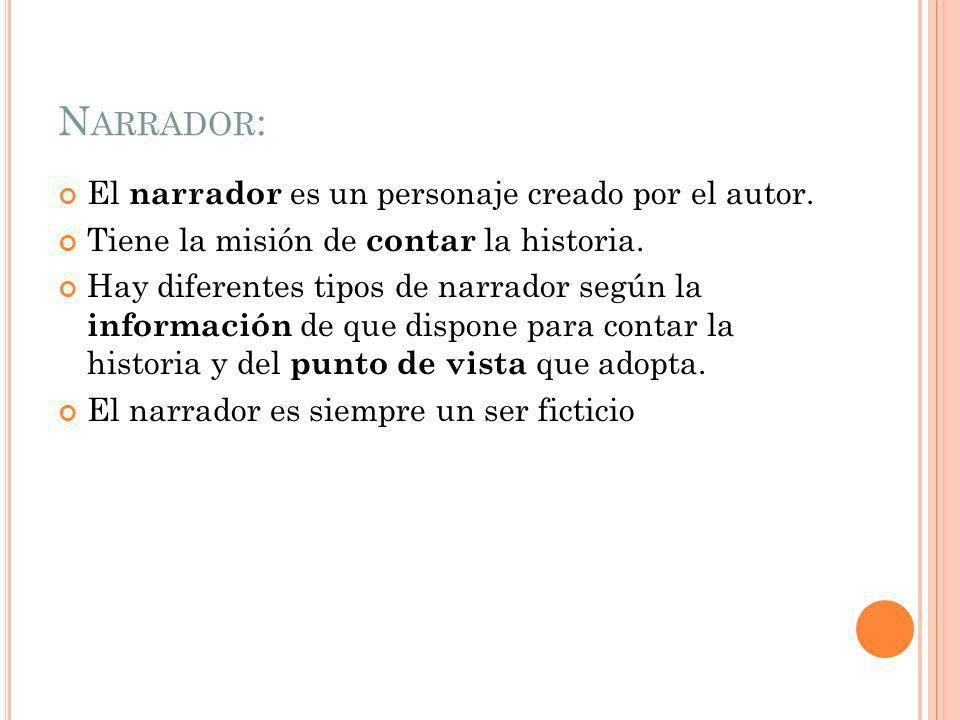 N ARRADOR : El narrador es un personaje creado por el autor.