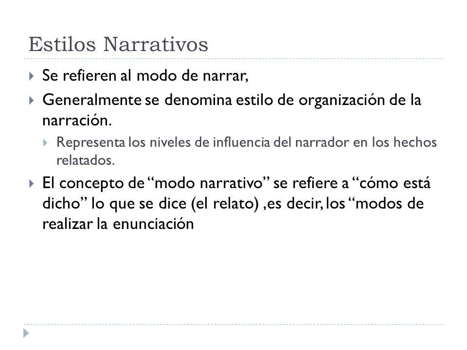 Estilos Narrativos Se refieren al modo de narrar, Generalmente se denomina estilo de organización de la narración. Representa los niveles de influenci