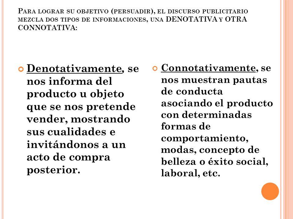 P ARA LOGRAR SU OBJETIVO ( PERSUADIR ), EL DISCURSO PUBLICITARIO MEZCLA DOS TIPOS DE INFORMACIONES, UNA DENOTATIVA Y OTRA CONNOTATIVA: Denotativamente