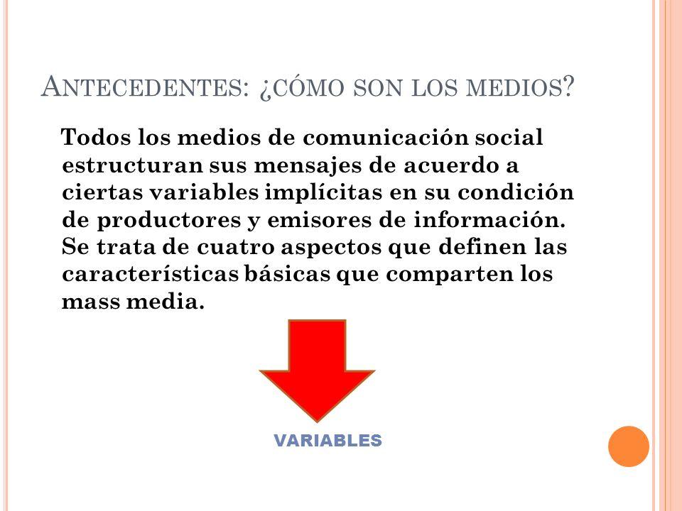 M EDIOS M ASIVOS DE C OMUNICACIÓN : T IPOS DE MEDIOS MASIVOS DE COMUNICACIÓN Departamento de Lengua Castellana y Comunicación Carmen Carrizo // Franco