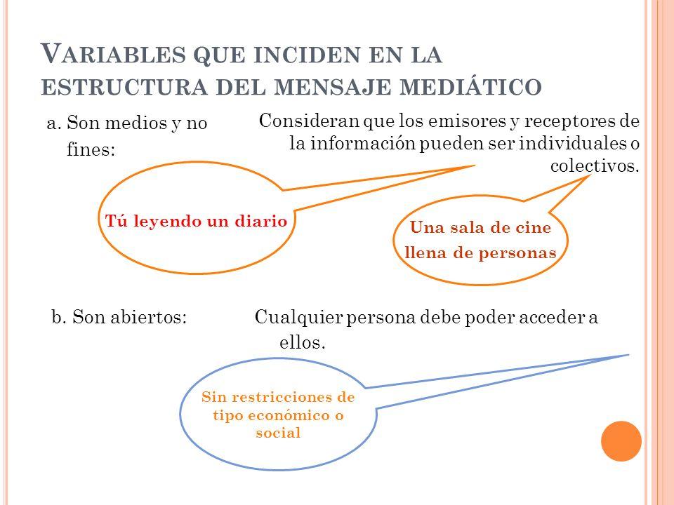 V ARIABLES QUE INCIDEN EN LA ESTRUCTURA DEL MENSAJE MEDIÁTICO a.