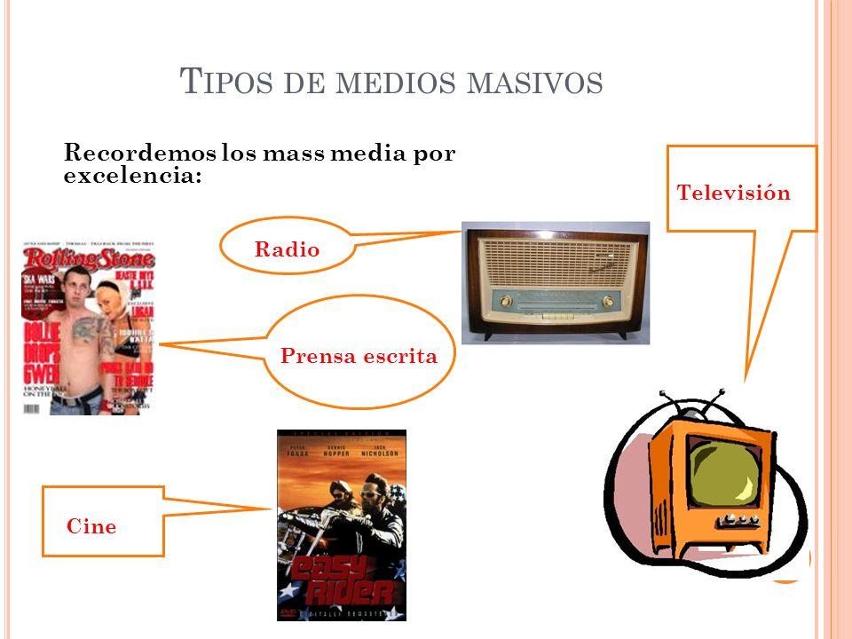 T IPOS DE MEDIOS MASIVOS Recordemos los mass media por excelencia: Televisión Radio Prensa escrita Cine