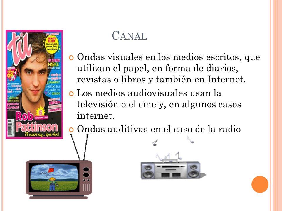 C ANAL Ondas visuales en los medios escritos, que utilizan el papel, en forma de diarios, revistas o libros y también en Internet.