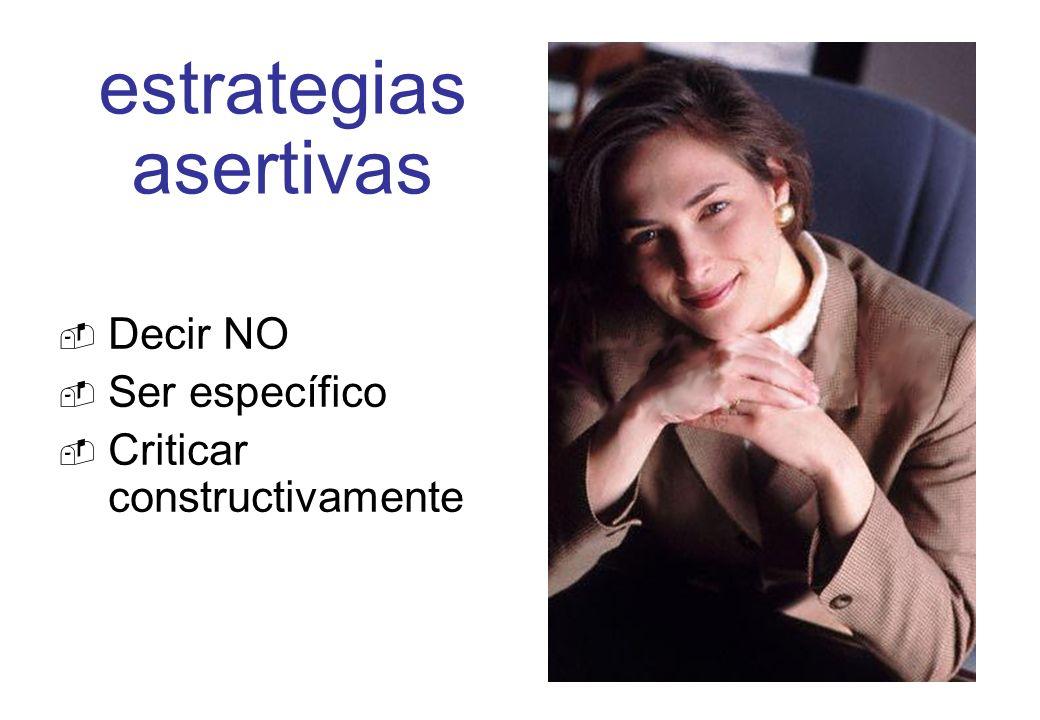 estrategias asertivas Decir NO Ser específico Criticar constructivamente