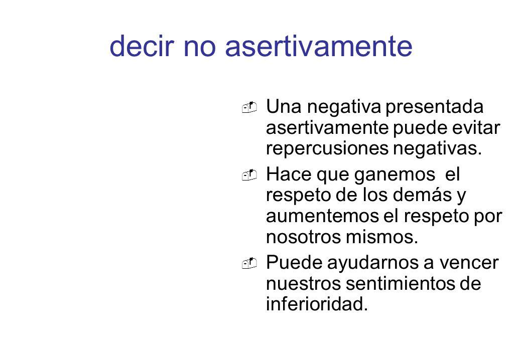 decir no asertivamente Una negativa presentada asertivamente puede evitar repercusiones negativas. Hace que ganemos el respeto de los demás y aumentem