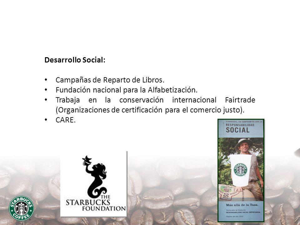 Desarrollo Social: Campañas de Reparto de Libros. Fundación nacional para la Alfabetización. Trabaja en la conservación internacional Fairtrade (Organ