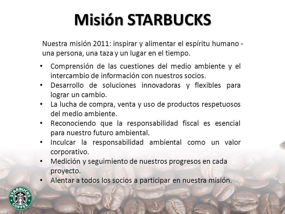 Misión STARBUCKS Nuestra misión 2011: inspirar y alimentar el espíritu humano - una persona, una taza y un lugar en el tiempo. Comprensión de las cues