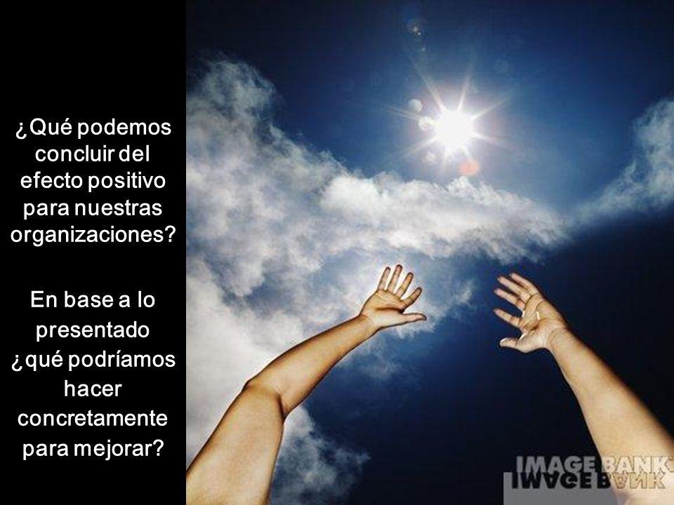 ¿Qué podemos concluir del efecto positivo para nuestras organizaciones? En base a lo presentado ¿qué podríamos hacer concretamente para mejorar?