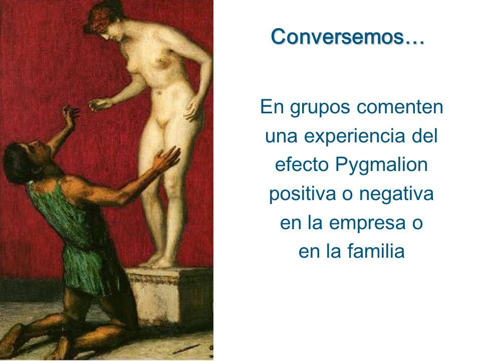 En grupos comenten una experiencia del efecto Pygmalion positiva o negativa en la empresa o en la familia Conversemos…