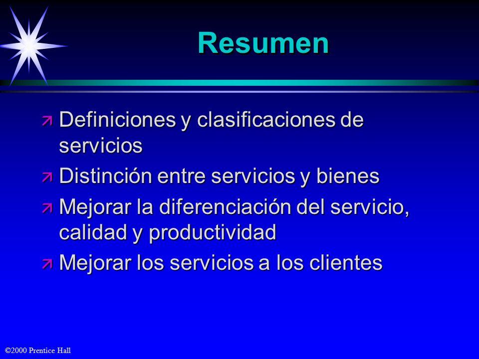 ©2000 Prentice Hall ResumenResumen ä Definiciones y clasificaciones de servicios ä Distinción entre servicios y bienes ä Mejorar la diferenciación del servicio, calidad y productividad ä Mejorar los servicios a los clientes