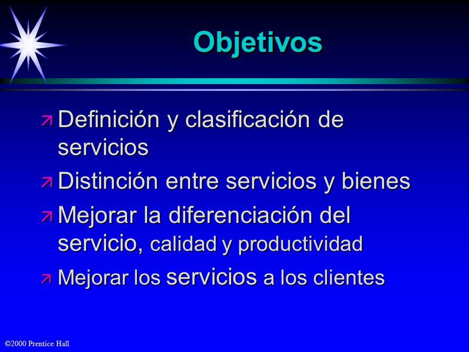 ©2000 Prentice Hall ObjetivosObjetivos ä Definición y clasificación de servicios ä Distinción entre servicios y bienes ä Mejorar la diferenciación del servicio, calidad y productividad ä Mejorar los servicios a los clientes