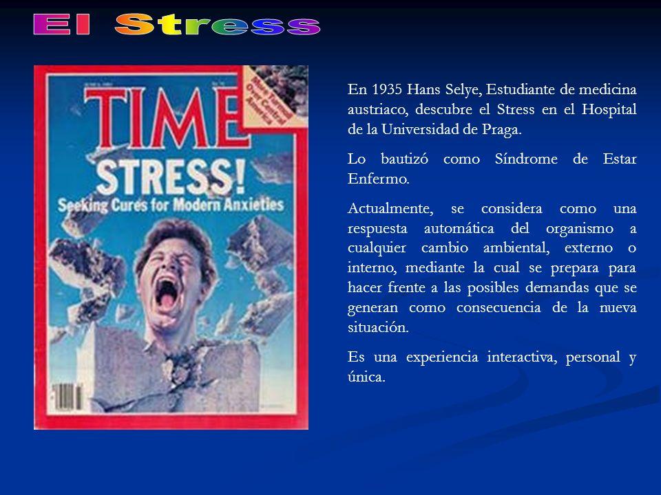 En 1935 Hans Selye, Estudiante de medicina austriaco, descubre el Stress en el Hospital de la Universidad de Praga. Lo bautizó como Síndrome de Estar