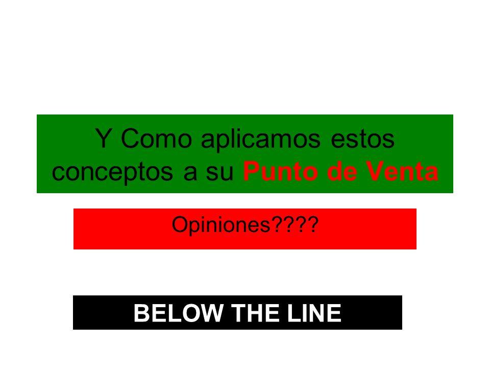 Y Como aplicamos estos conceptos a su Punto de Venta Opiniones???? BELOW THE LINE
