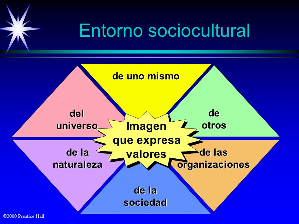 ©2000 Prentice Hall Entorno sociocultural de las organizaciones de la naturaleza de uno mismo de la sociedad deluniverso deotros Imagen que expresa va