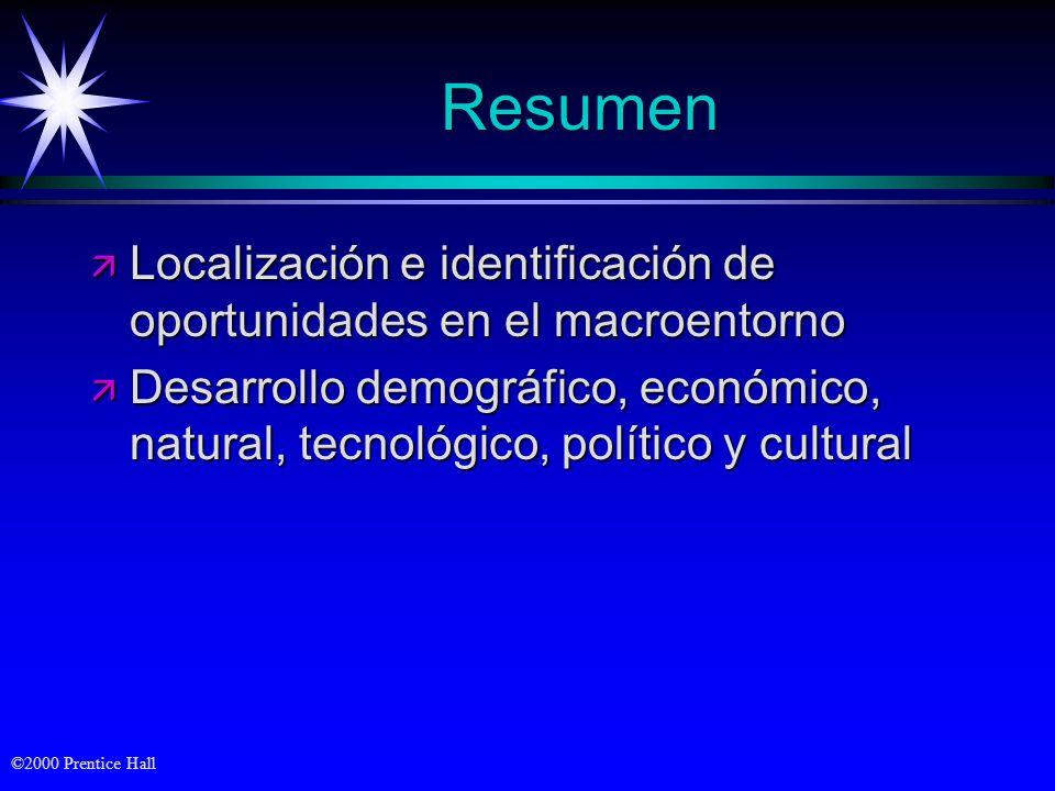 ©2000 Prentice Hall Resumen ä Localización e identificación de oportunidades en el macroentorno ä Desarrollo demográfico, económico, natural, tecnológ