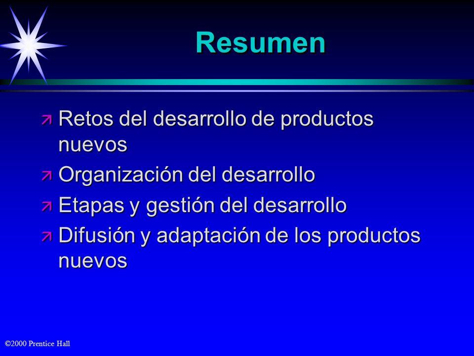 ©2000 Prentice Hall ResumenResumen ä Retos del desarrollo de productos nuevos ä Organización del desarrollo ä Etapas y gestión del desarrollo ä Difusi