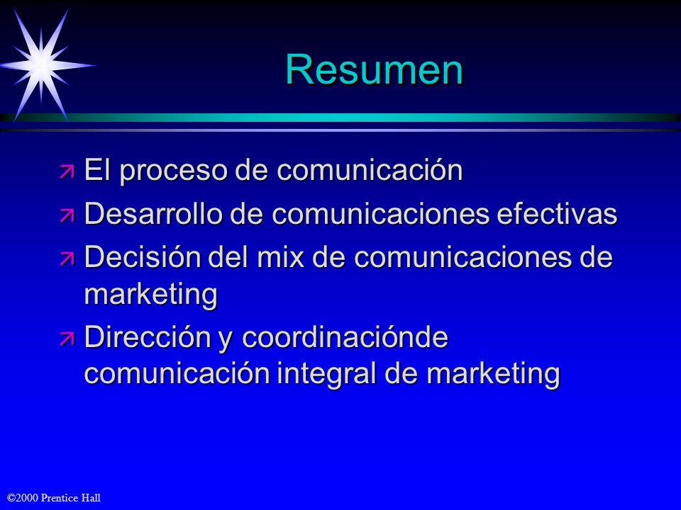 ©2000 Prentice Hall ResumenResumen ä El proceso de comunicación ä Desarrollo de comunicaciones efectivas ä Decisión del mix de comunicaciones de marke