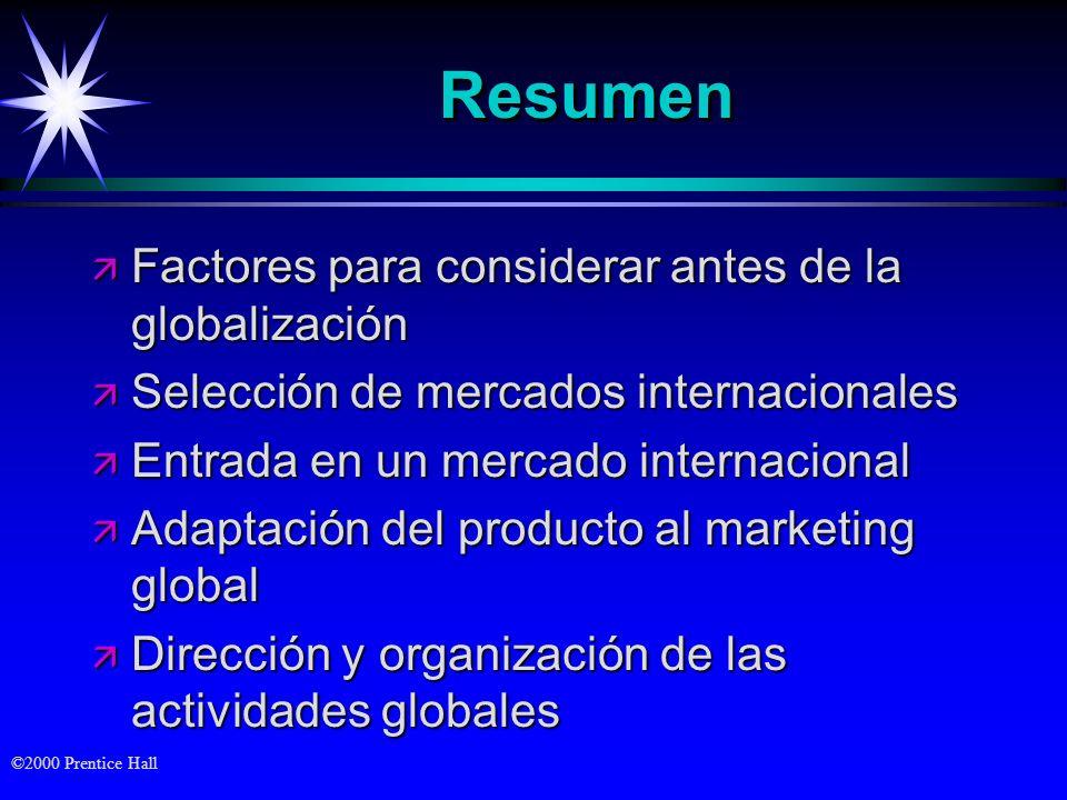 ©2000 Prentice Hall ResumenResumen ä Factores para considerar antes de la globalización ä Selección de mercados internacionales ä Entrada en un mercad