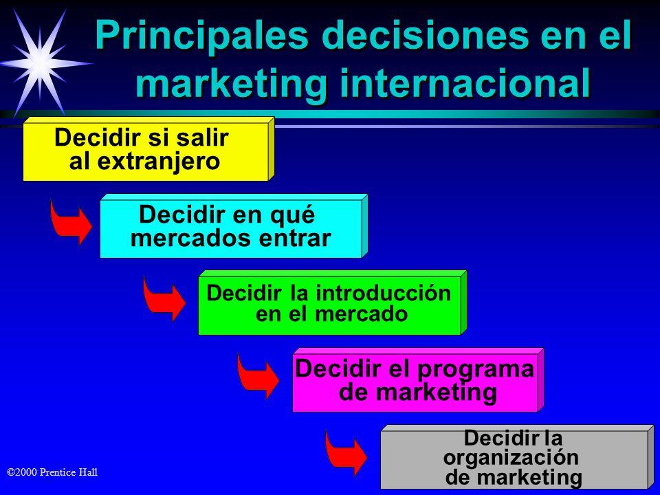 ©2000 Prentice Hall Principales decisiones en el marketing internacional Decidir si salir al extranjero Decidir en qué mercados entrar Decidir la intr