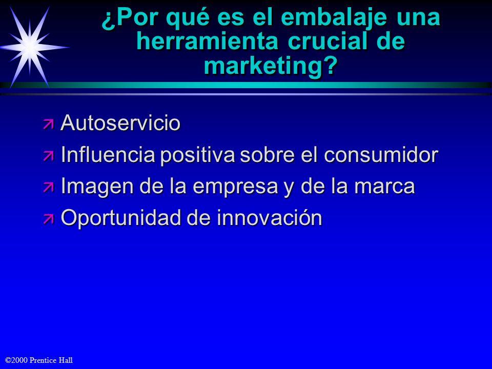 ©2000 Prentice Hall ¿Por qué es el embalaje una herramienta crucial de marketing? ä Autoservicio ä Influencia positiva sobre el consumidor ä Imagen de