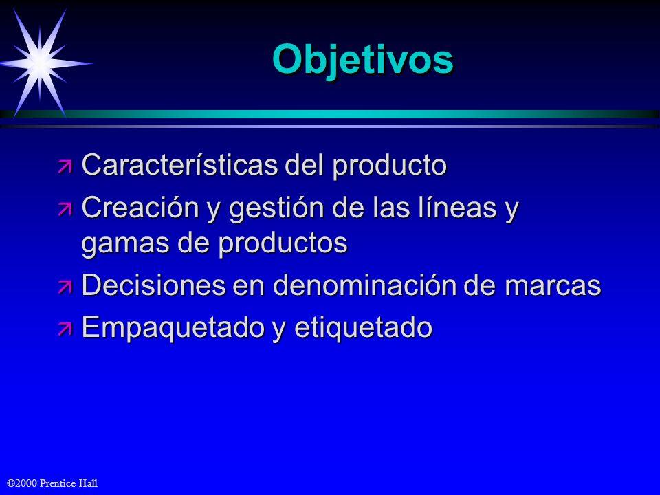 ©2000 Prentice Hall ObjetivosObjetivos ä Características del producto ä Creación y gestión de las líneas y gamas de productos ä Decisiones en denomina