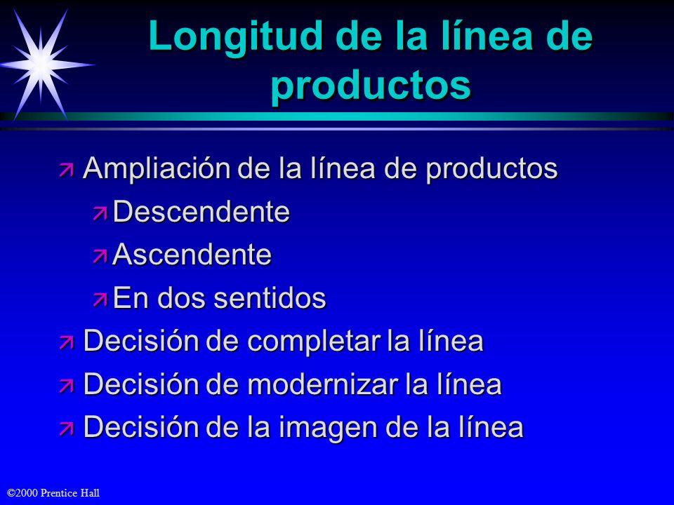 ©2000 Prentice Hall Longitud de la línea de productos ä Ampliación de la línea de productos ä Descendente ä Ascendente ä En dos sentidos ä Decisión de