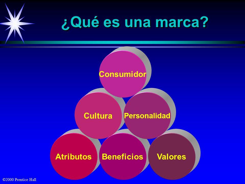 ©2000 Prentice Hall ¿Qué es una marca? AtributosBeneficiosValores Cultura Consumidor Personalidad