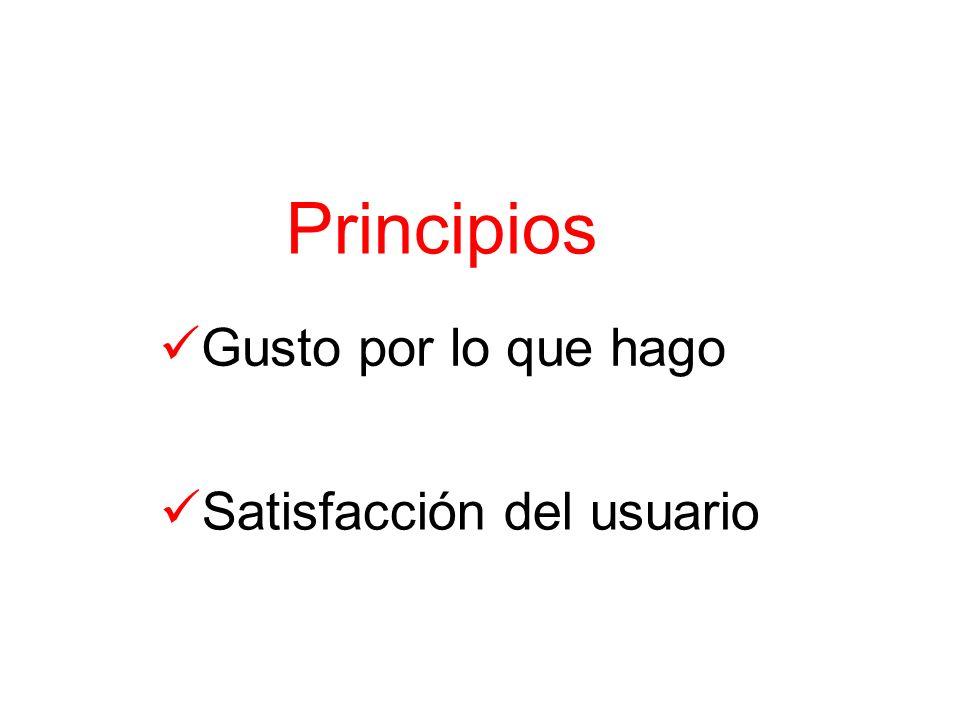 Principios Gusto por lo que hago Satisfacción del usuario