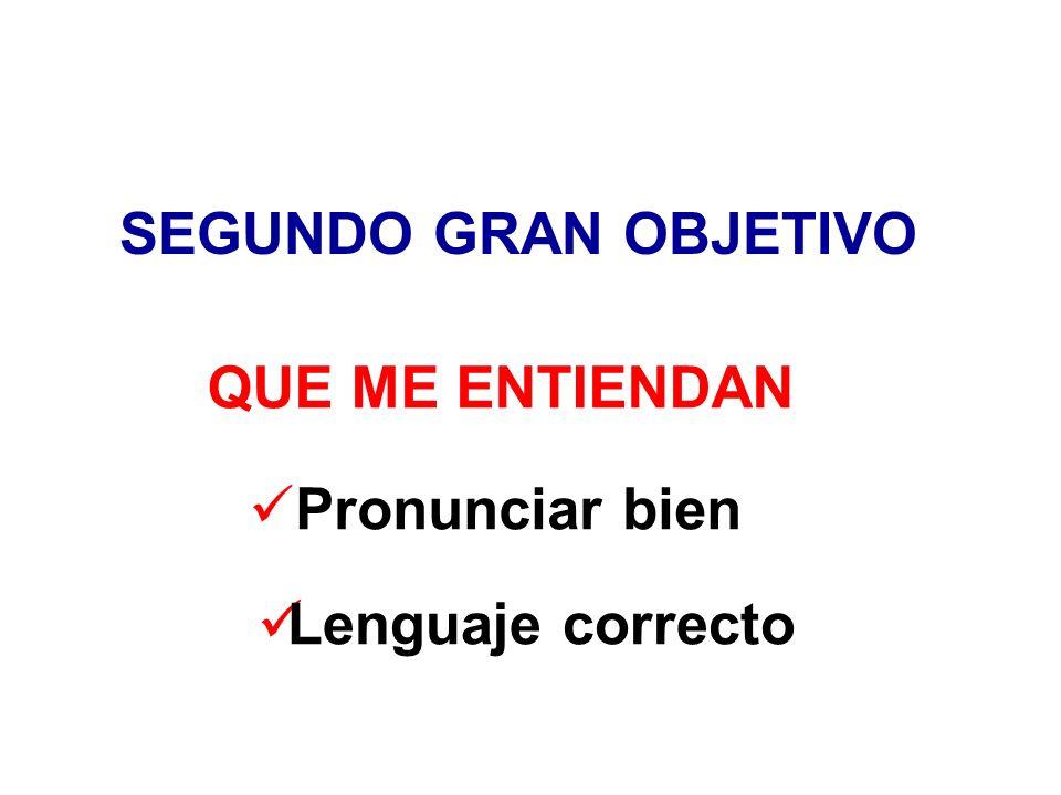 SEGUNDO GRAN OBJETIVO QUE ME ENTIENDAN Pronunciar bien Lenguaje correcto