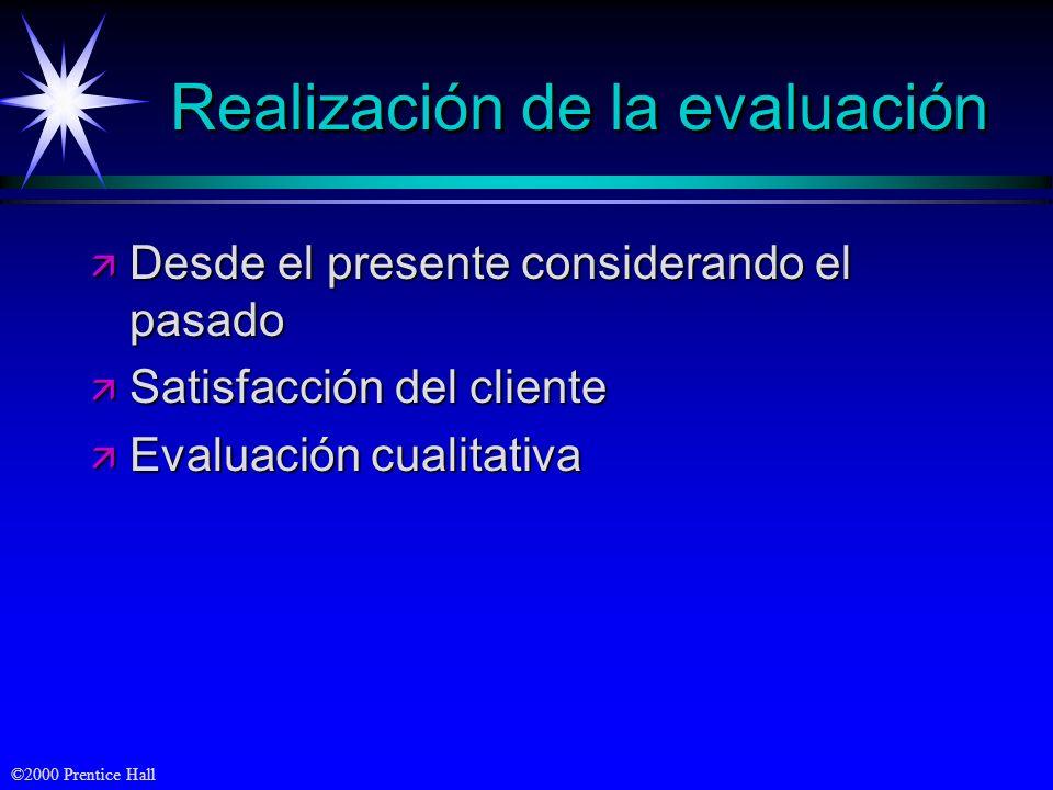 ©2000 Prentice Hall Realización de la evaluación ä Desde el presente considerando el pasado ä Satisfacción del cliente ä Evaluación cualitativa