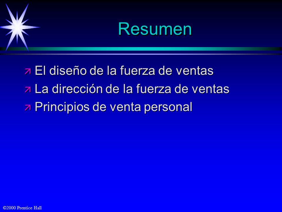©2000 Prentice Hall ResumenResumen ä El diseño de la fuerza de ventas ä La dirección de la fuerza de ventas ä Principios de venta personal
