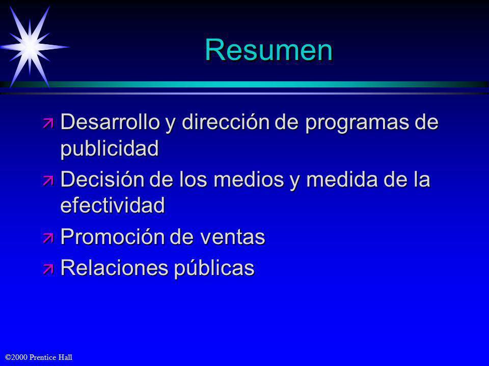 ©2000 Prentice Hall ResumenResumen ä Desarrollo y dirección de programas de publicidad ä Decisión de los medios y medida de la efectividad ä Promoción