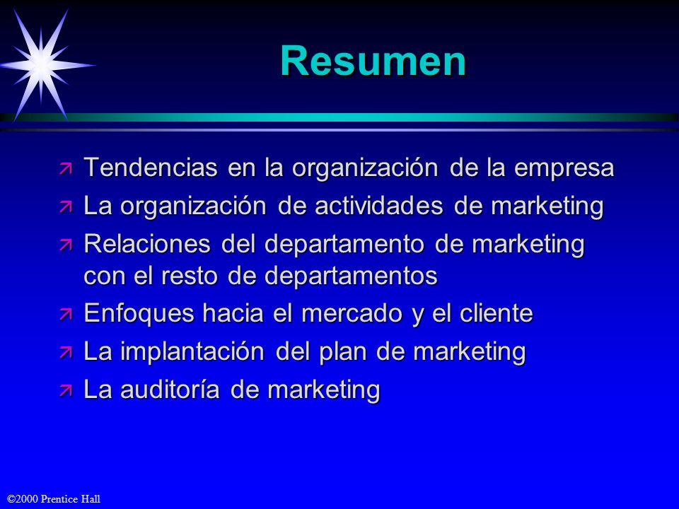 ©2000 Prentice Hall ResumenResumen ä Tendencias en la organización de la empresa ä La organización de actividades de marketing ä Relaciones del depart