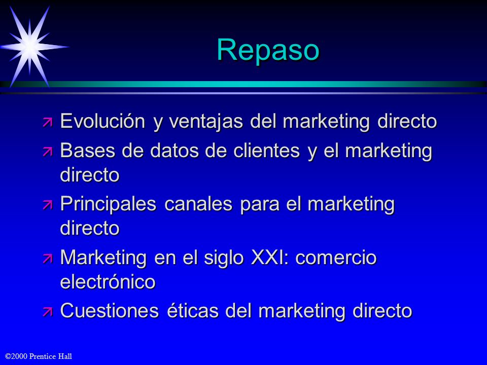 ©2000 Prentice Hall RepasoRepaso ä Evolución y ventajas del marketing directo ä Bases de datos de clientes y el marketing directo ä Principales canale