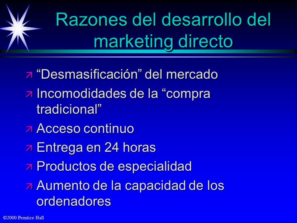 ©2000 Prentice Hall Razones del desarrollo del marketing directo ä Desmasificación del mercado ä Incomodidades de la compra tradicional ä Acceso conti