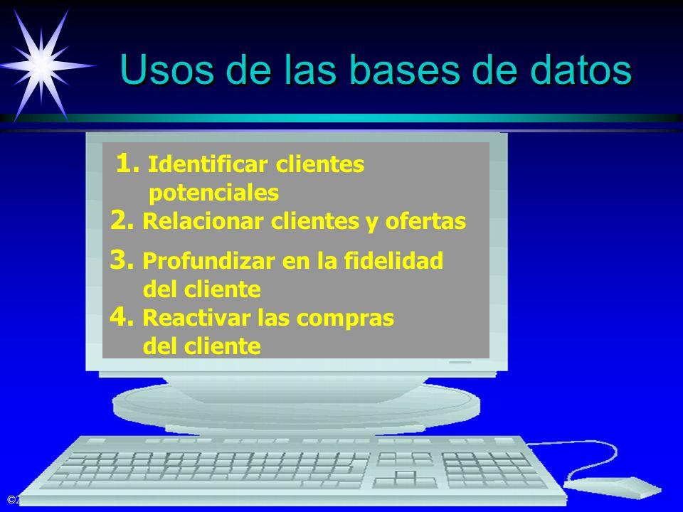 ©2000 Prentice Hall Usos de las bases de datos 1. Identificar clientes potenciales 2. Relacionar clientes y ofertas 3. Profundizar en la fidelidad del