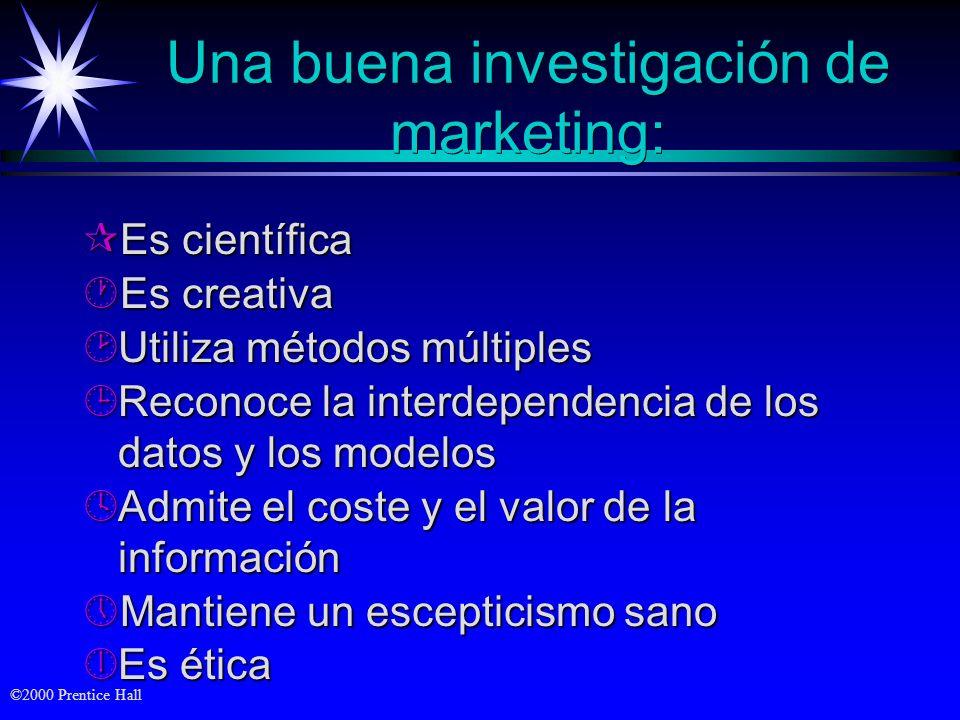 ©2000 Prentice Hall El proceso de investigación de marketing Definición del problema y problema y objetivos de objetivos de la investigación Definició