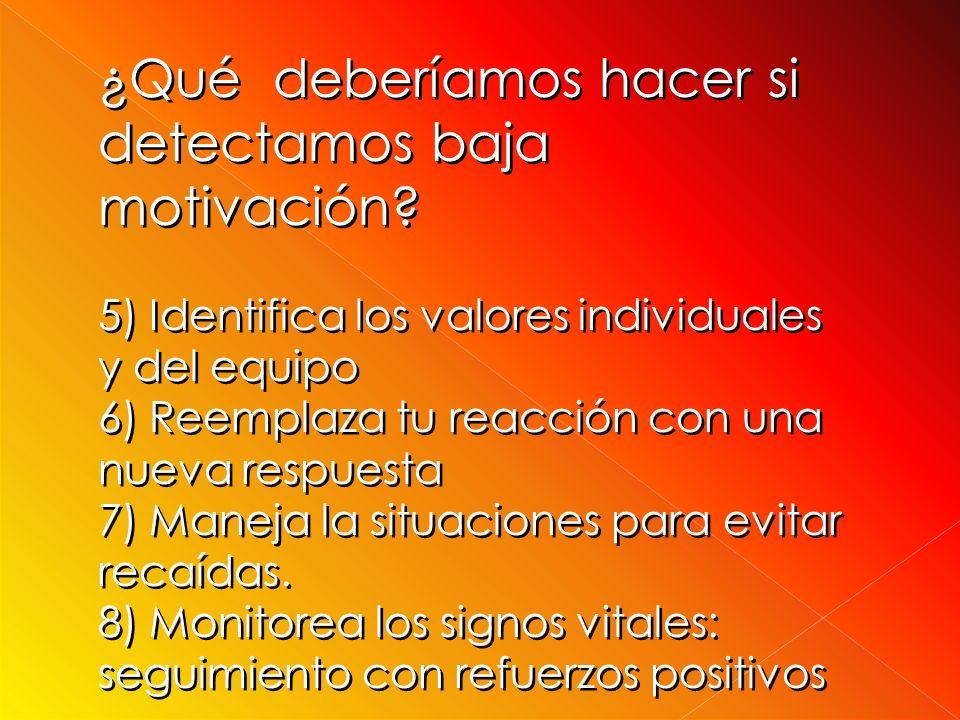 ¿ Qué deberíamos hacer si detectamos baja motivación? 1)Responsabilízate por tu propia actitud 2)Ayuda a tus compañeros a hacer el diagnóstico de sus