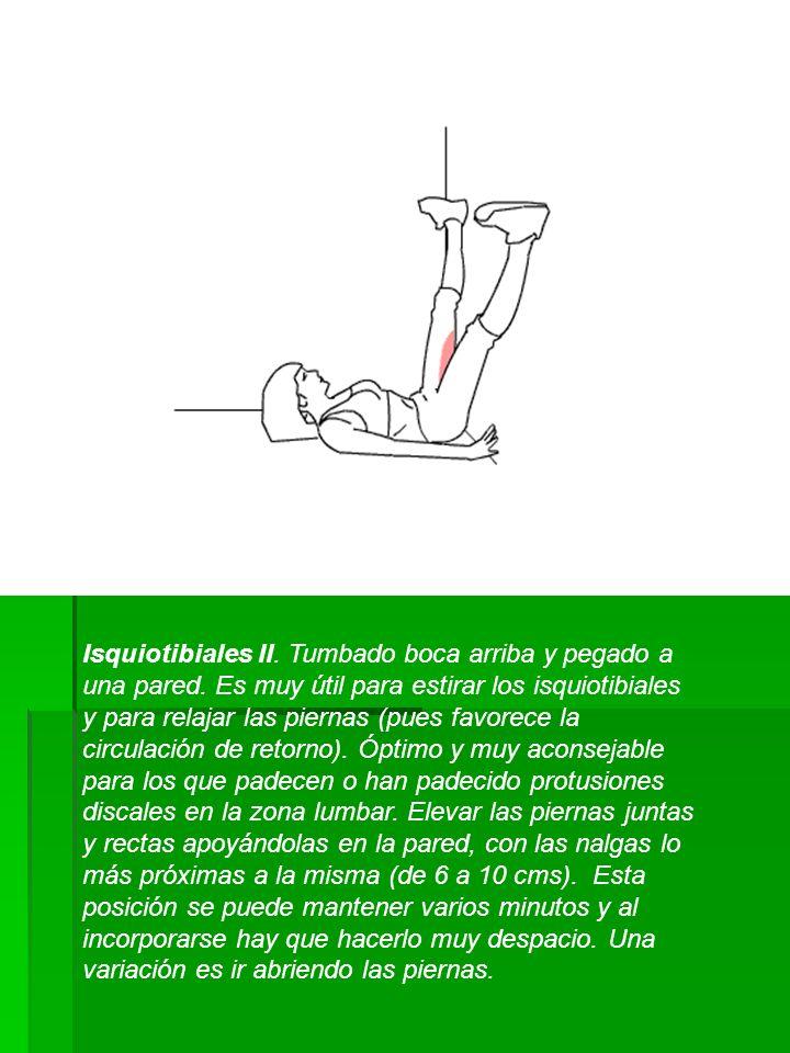 Isquiotibiales II. Tumbado boca arriba y pegado a una pared. Es muy útil para estirar los isquiotibiales y para relajar las piernas (pues favorece la
