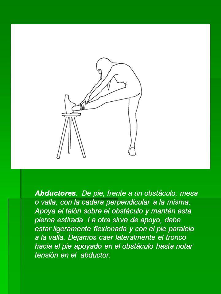 Abductores. De pie, frente a un obstáculo, mesa o valla, con la cadera perpendicular a la misma. Apoya el talón sobre el obstáculo y mantén esta piern