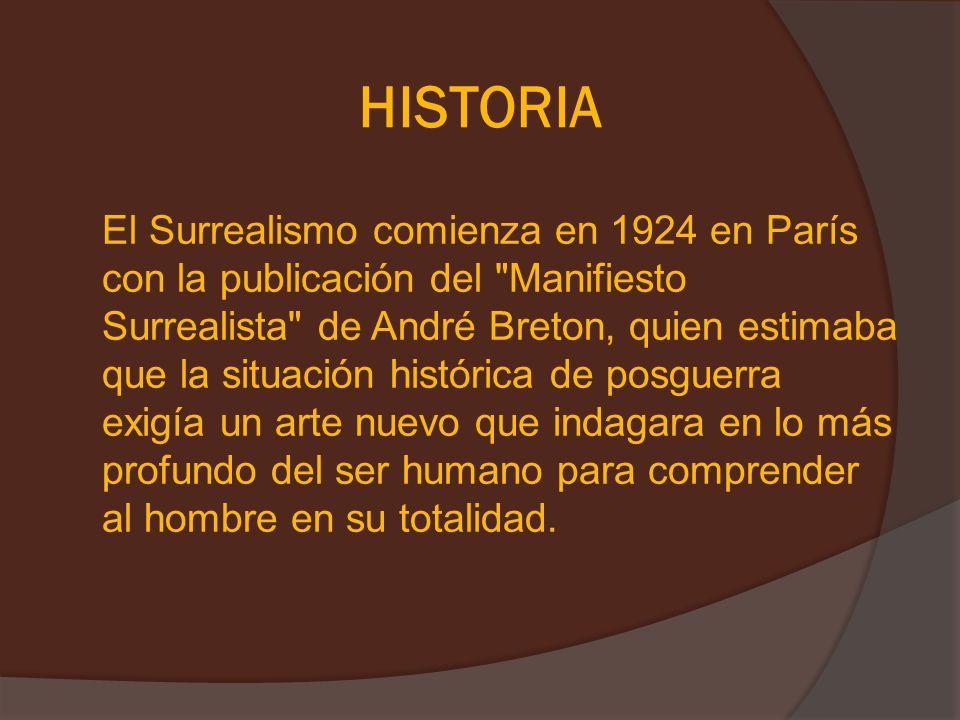 HISTORIA El Surrealismo comienza en 1924 en París con la publicación del