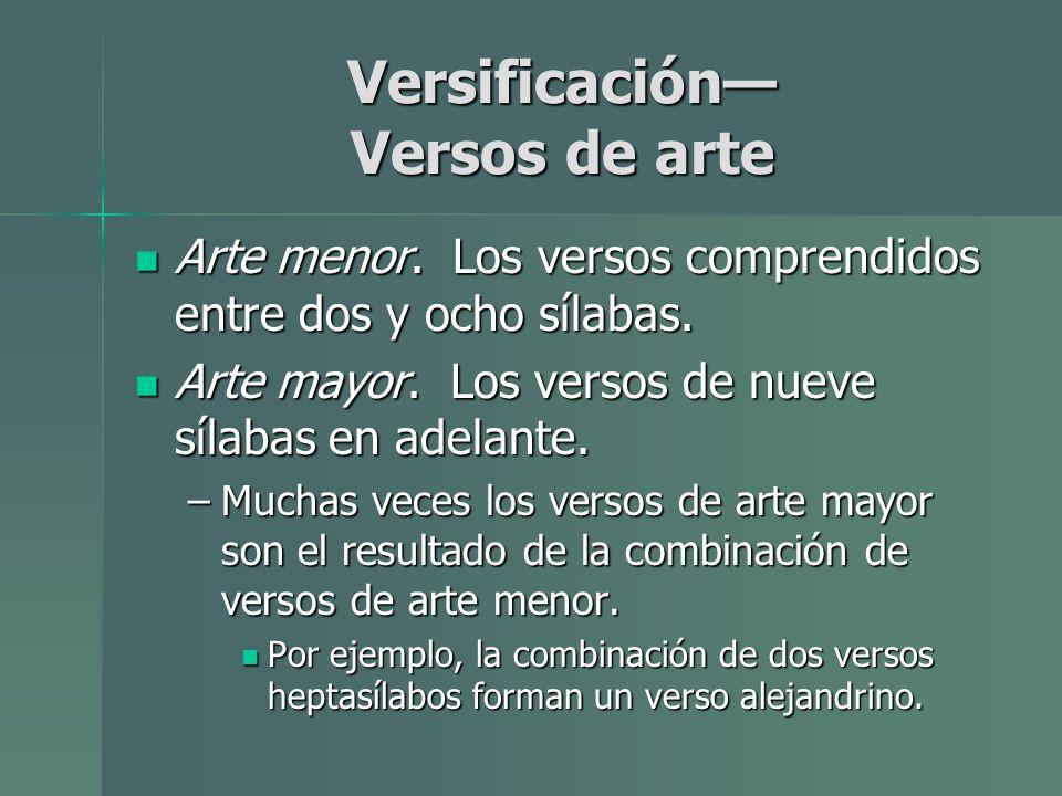 Versificación Versos de arte Arte menor. Los versos comprendidos entre dos y ocho sílabas. Arte menor. Los versos comprendidos entre dos y ocho sílaba