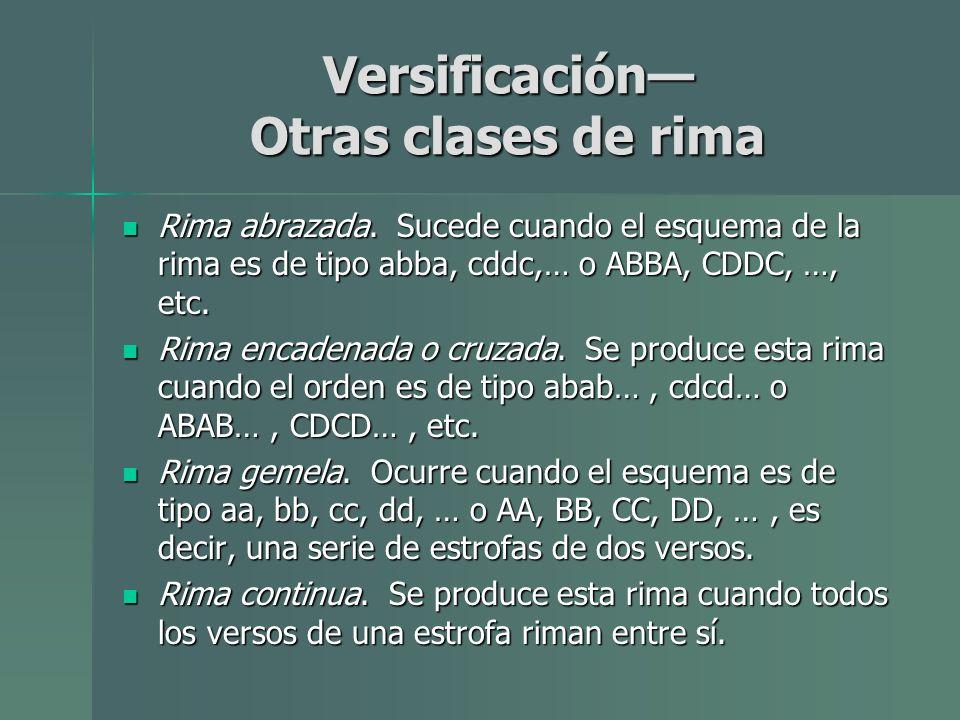 Versificación Otras clases de rima Rima abrazada. Sucede cuando el esquema de la rima es de tipo abba, cddc,… o ABBA, CDDC, …, etc. Rima abrazada. Suc