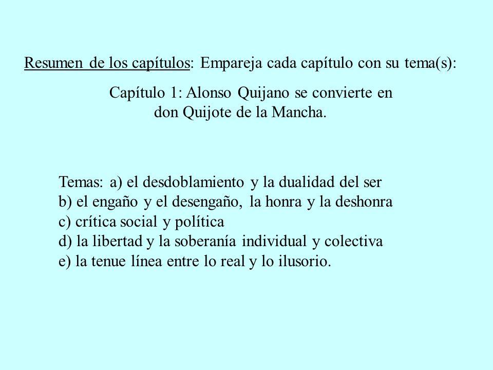 Resumen de los capítulos: Empareja cada capítulo con su tema(s): Capítulo 1: Alonso Quijano se convierte en don Quijote de la Mancha. Temas: a) el des