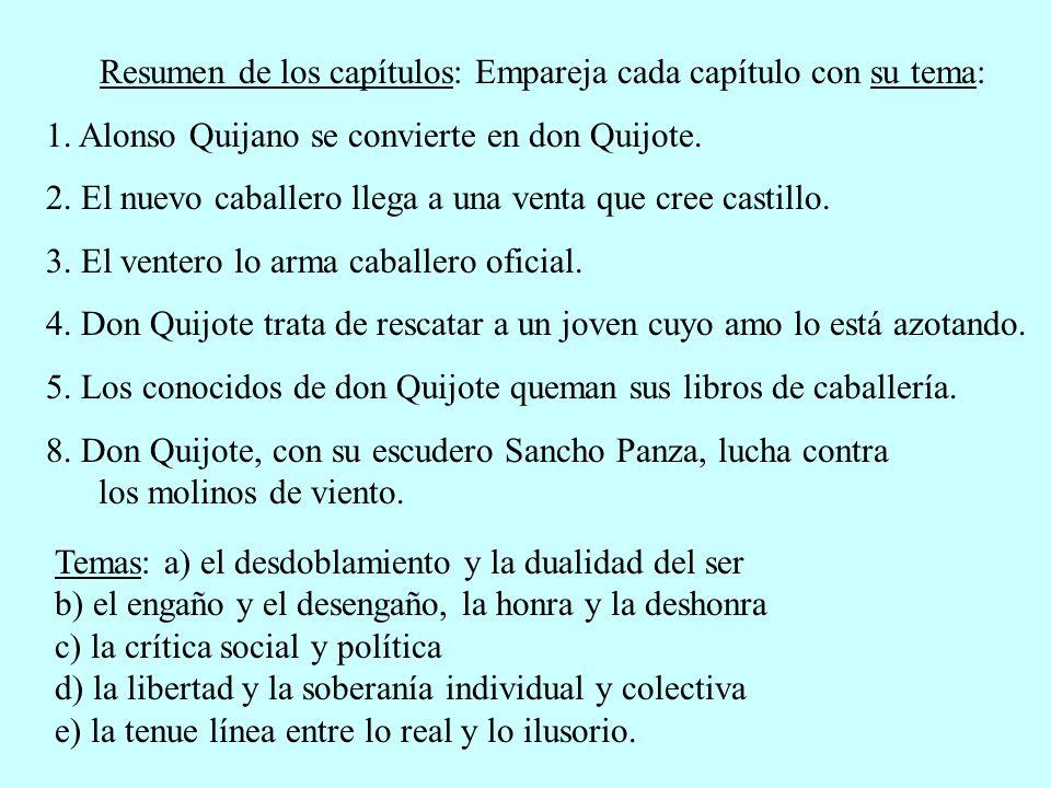 Resumen de los capítulos: Empareja cada capítulo con su tema: 1. Alonso Quijano se convierte en don Quijote. 2. El nuevo caballero llega a una venta q